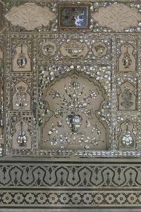 Close-Up of a Decorated Wall, Amber Palace, Jaipur, Rajasthan, India