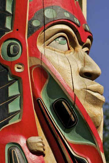 Close Up of a Face on a Traditional Haida Totem Carving in Ketchikan, Alaska-Design Pics Inc-Photographic Print