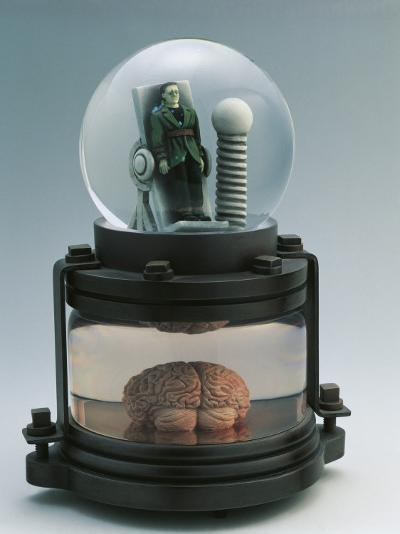 Close-Up of a Figurine of Frankenstein in a Snow Globe--Photographic Print