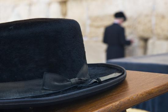 Close-Up of a Hasidic Jew's Hat at the Western Wall-Jon Hicks-Photographic Print
