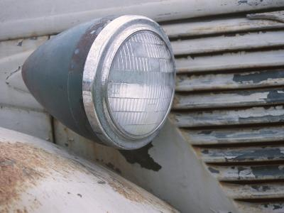 Close-Up of a Headlight on an Old Rusty Vintage Car--Photographic Print