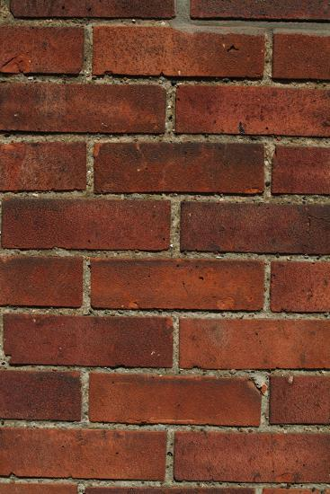 Close Up of a Red Clay Brick and Mortar Wall-Natalie Tepper-Photo