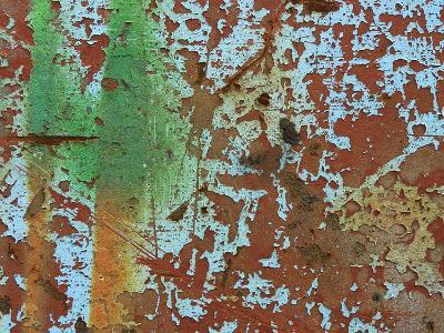 Close-up of a Red Wall with Peeling White Paint and Grafiti--Photographic Print