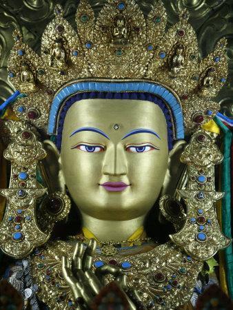 Close-Up of a Statue of the Buddha Maitreya, Kathmandu, Nepal, Asia  Photographic Print by Godong | Art com