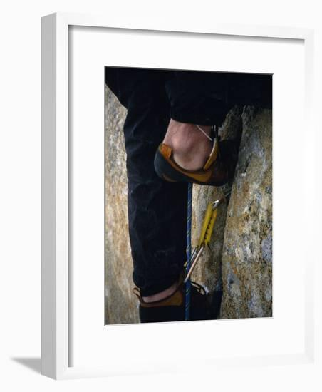 Close Up of a Team Member's Feet Wedged in a Crack in the Granite-Bobby Model-Framed Photographic Print