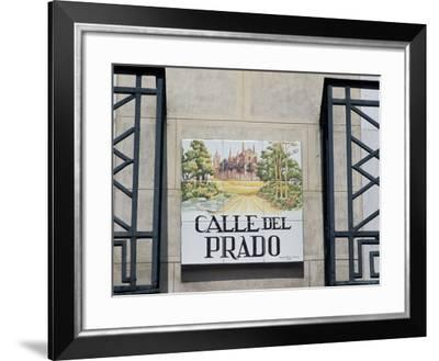 Close-Up of a Tile Street Sign, Calle Del Prado, Centro, Madrid, Spain-Richard Nebesky-Framed Photographic Print