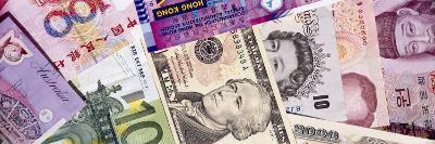 Close-Up of Assorted Currencies of Different Countries--Photographic Print