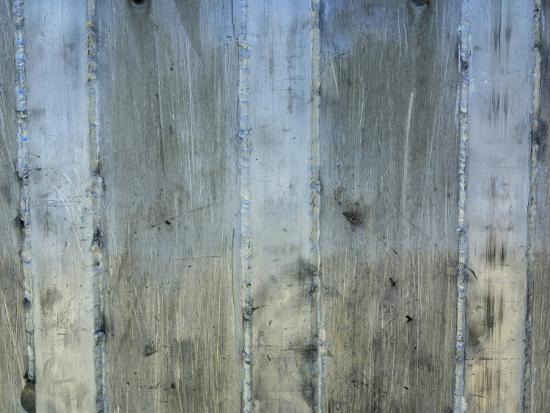 Close-Up of Background of Weathered Steel with Lines--Photographic Print