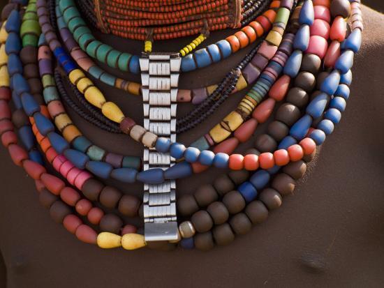 Close-Up of Bead Necklaces of a Hamer Woman, Turmi, Omo Region, Ethiopia, Africa-Carlo Morucchio-Photographic Print