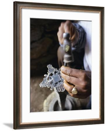 Close-Up of Blacksmith's Hands Working on Metal Cross, Axoum (Axum) (Aksum), Tigre Region, Ethiopia-Bruno Barbier-Framed Photographic Print