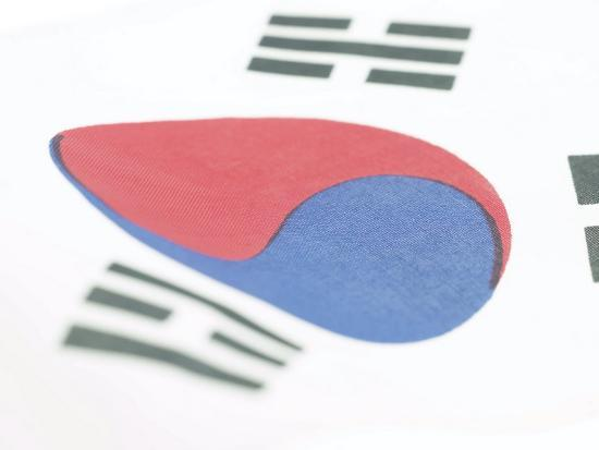 Close-Up of Blue and Red Yin-Yang Symbol on South Korean Flag--Photographic Print