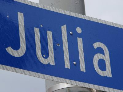 Close-Up of Blue Julia Street Sign from New Orleans, Louisiana--Photographic Print
