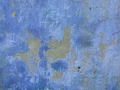 Close-up of Blue Paint Chipping from Stone Wall--Photographic Print