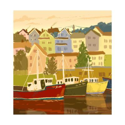Close Up of Boats and Houses--Art Print