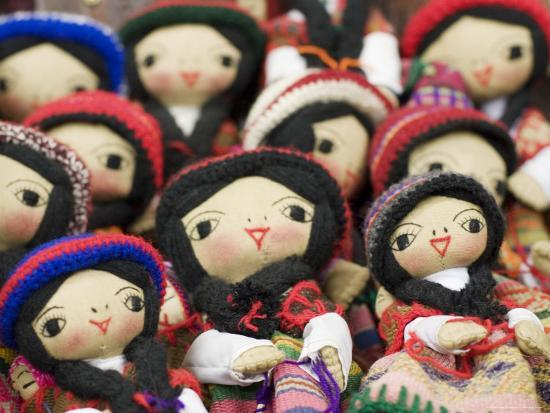 Close-Up of Bolivian Dolls for Sale, La Paz, Bolivia-Brent Winebrenner-Photographic Print