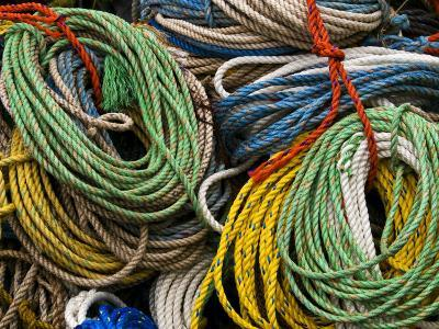Close-up of Bundles of Bright Colored Ropes-Todd Gipstein-Photographic Print