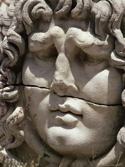Close-Up of Carved Head, Didyma, Anatolia, Turkey, Eurasia-Christina Gascoigne-Photographic Print