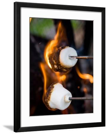 Close-Up of Charred Marshmallows Burning in Fire--Framed Photographic Print