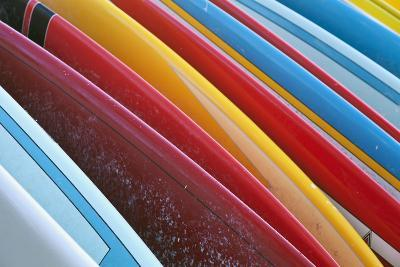Close Up of Coloured Surfboards Lined Up; Honolulu, Oahu, Hawaii, United States of America-Design Pics Inc-Photographic Print