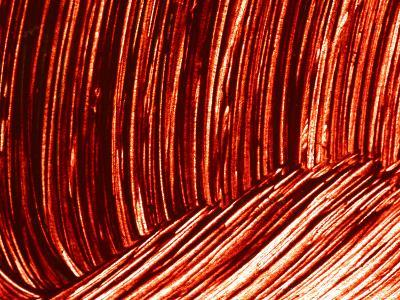 Close-up of Dark Red Paint Brushed into Swirls--Photographic Print
