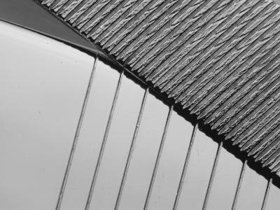 Close-up of Engraved Lines of Texture on a Shuny Metal Surface--Photographic Print