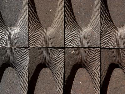 Close-up of Engraved Metal with Lines of Texture in Arches--Photographic Print