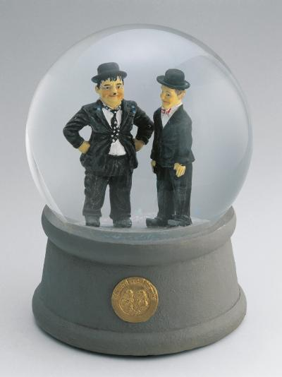 Close-Up of Figurines of Laurel and Hardy in a Snow Globe--Photographic Print