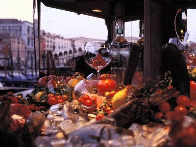 Close-up of Fruits and Wine a Glass at an Outdoor Market in Venice-Gianluca Colla-Photographic Print