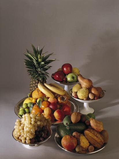 Close-Up of Fruits in Plates and Bowls--Photographic Print