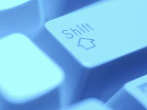 Close-Up of Gray Computer Shift Button