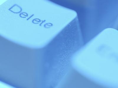 Close-Up of Gray Delete Button on Computer Keyboard--Photographic Print