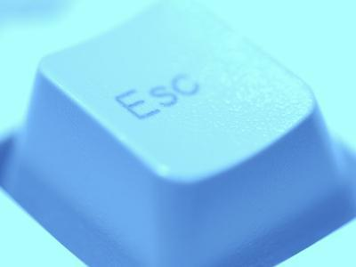 Close-Up of Gray Escape Button on Computer Keyboard--Photographic Print