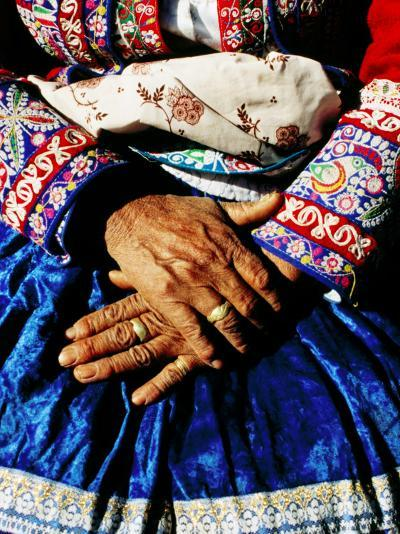 Close-Up of Hands of Woman Wearing Traditional Clothes-Jeffrey Becom-Photographic Print