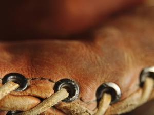 Close-up of Leather Baseball Glove Stitching