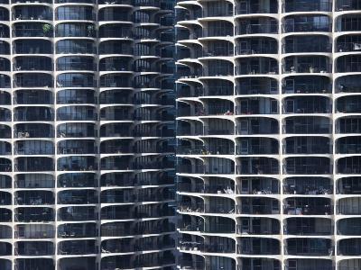 Close-Up of Marina City's Twin Towers, Chicago, Illinois, United States of America, North America-Amanda Hall-Photographic Print