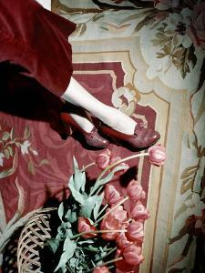 Close-Up of Model's Legs Wearing Wine-Colored Baby Calf and Lizard One-Eyelet Shoe