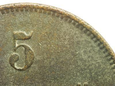 Close-Up of Number on Brown Brass Coin--Photographic Print