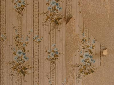 Close-Up of Old Peeling Wallpaper with Floral Pattern--Photographic Print