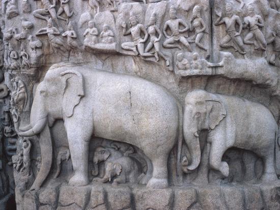 Close-Up of Ornate Sculpture of Elephants, Mahabalipuram, India--Photographic Print
