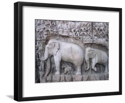 Close-Up of Ornate Sculpture of Elephants, Mahabalipuram, India--Framed Photographic Print