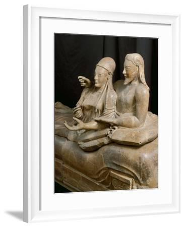 Close-Up of Painted Terracotta Sarcophagus of the Spouses, 6th Century B.C.--Framed Giclee Print