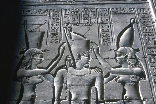 Close up of Pharaoh wearing Double Crown, Temple of Horus, Edfu, Egypt, c251-c246BC-Unknown-Giclee Print