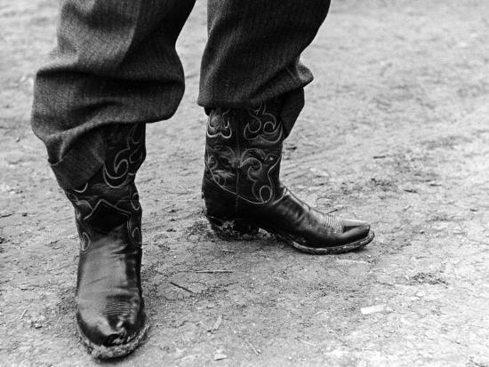 62507e19de5 Close Up of Police Chief Carl Pugh's Cowboy Boots Photographic Print by  Carl Mydans   Art.com
