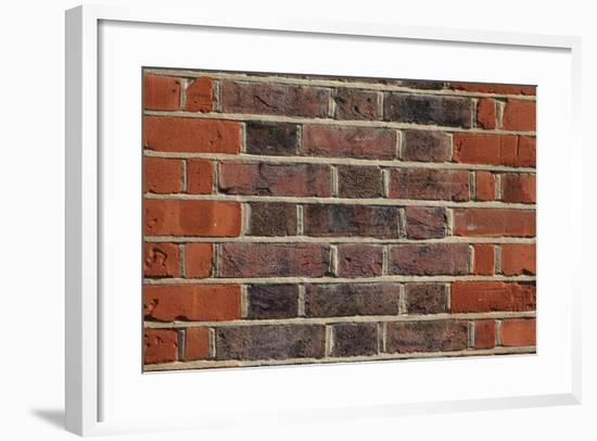 Close Up of Red and Black Bricks and Mortar-Natalie Tepper-Framed Photo