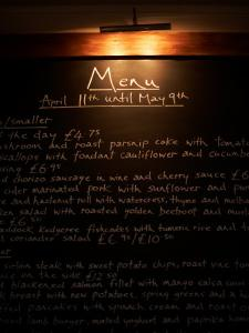 Close-Up of Restaurant Menu on Blackboard in England