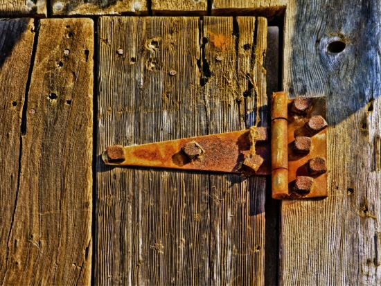 Close-Up of Rusted Door Hinge-Diane Miller-Photographic Print