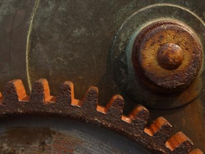 Close-Up of Rusty Steel Cogs and Gear--Photographic Print