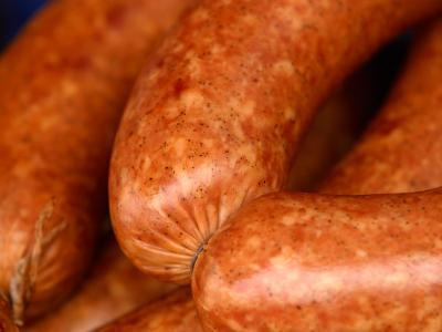 Close-Up of Sausages Linked Together--Photographic Print