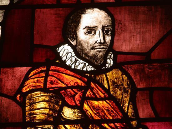 Close-up of Shakespeare in an Illuminated Stained Glass Window--Photographic Print