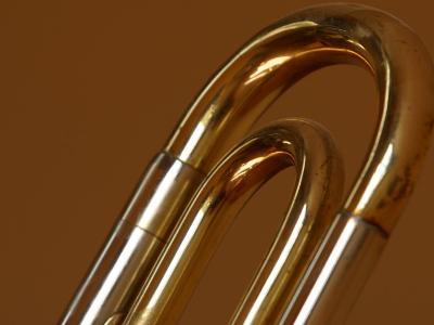 Close-Up of Shiny Brass Tubes of Trombone--Photographic Print